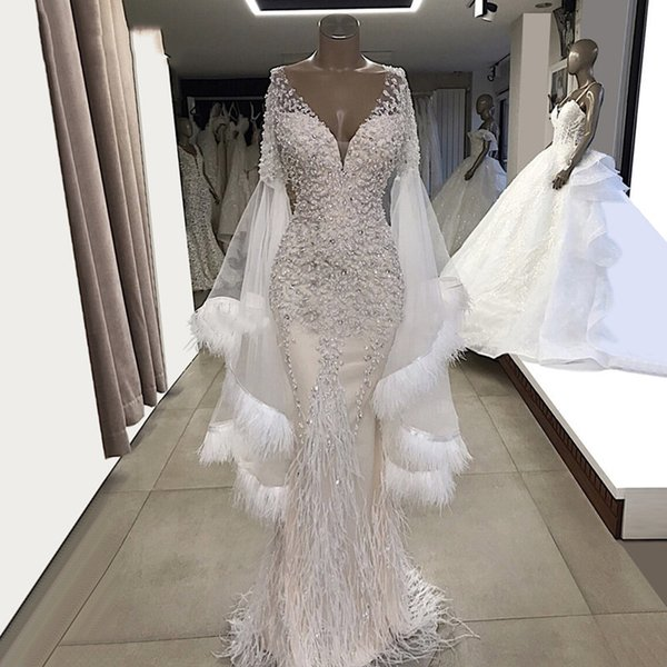 White Mermaid Evening Dresses Feather Long Sleeves Party Gowns 2019 Couture V Neck Tulle Beaded Crystals Prom Dress Graduation Dresses