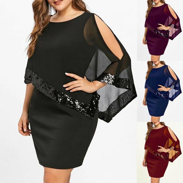 Вечер Sexy Черный блесток платье Женщины Befree партии vestidos Сетчатые Luxury Ночной клуб стрит Платья Короткое мини платье плюс размер