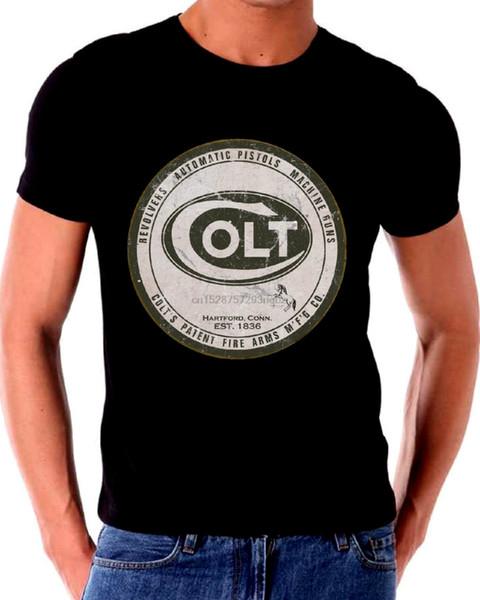 Eski Teneke Işareti T Gömlek COLT Ateşli Silahlar Eski Logo