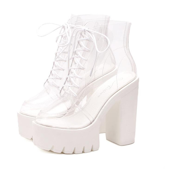 Hot nightclub dj female singer stage performance shoes transparent round head strap super high heel thick with cool boots singl