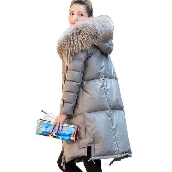 Winter Down Jacket Women Natural Raccoon Fur Collar Hooded Genuine Leather Jackets Nice Warm Real Sheepskin Coat
