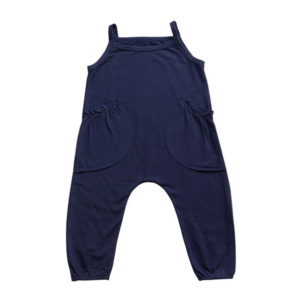 INS Must-have Children Girls Suspender Trousers Pure Red Dark Blue Solid Sleeveless Baby Rompers Pants Kids Infant Toddler Boys Bib Pants