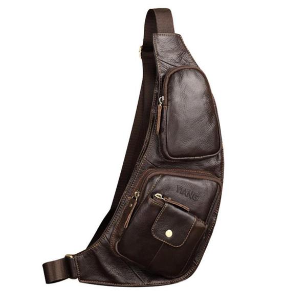 Men Genuine Leather Sling Chest Bag Solid Color Messenger Chest Belt Packs Casual Shoulder Waist Bags 2019 New