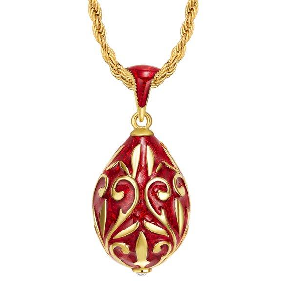 Dekoratif desen Emaye El Yapımı Rus Paskalya Takı Pirinç altın kaplama Faberge Yumurta Kolye TF Takılar Kadınlar Için Kristal Kolye Hediye