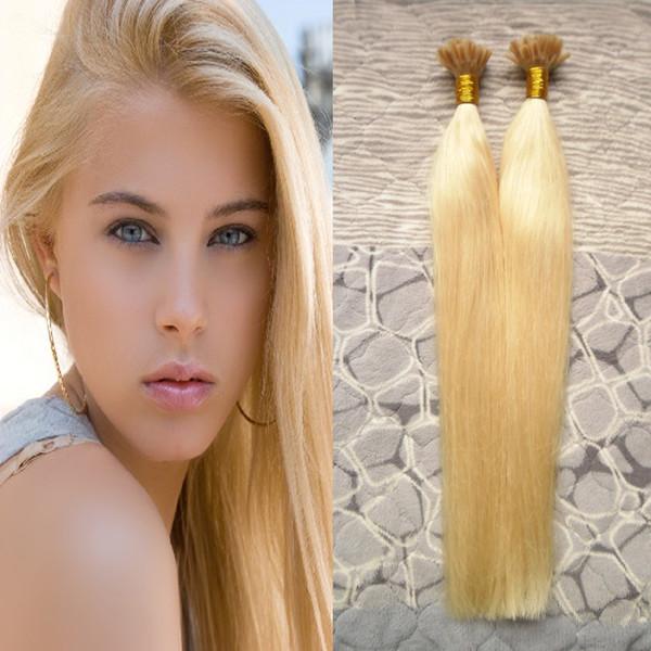 Blonde brazilian hair 200g lot nail u tip pre bonded keratin glue remy natural human hair exten ion 200 trand real 100 human hair, Black