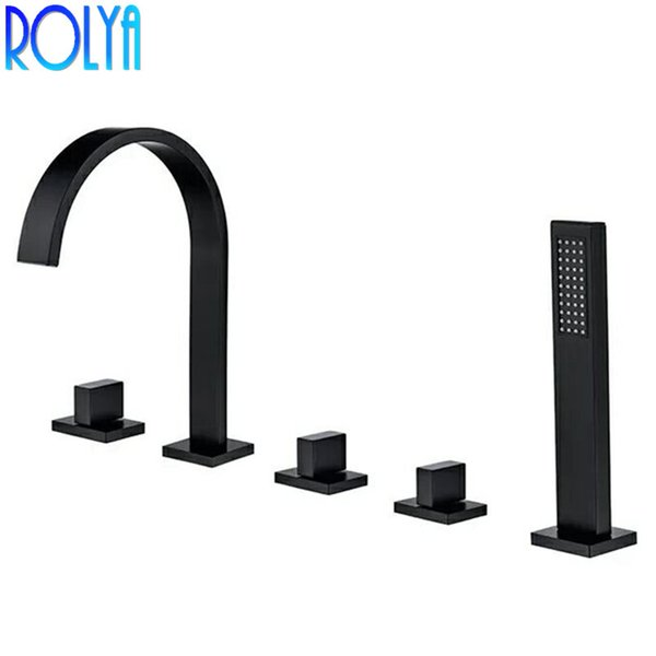 5 Hole Deck Mount Tub Faucet With Hand Shower.2019 Rolya Black Roman Tub Faucet Deck Mounted 5 Hole Bathtub Faucet Mixer Tap With Hand Shower 2018 New Promotion From Waterfaucet 188 95