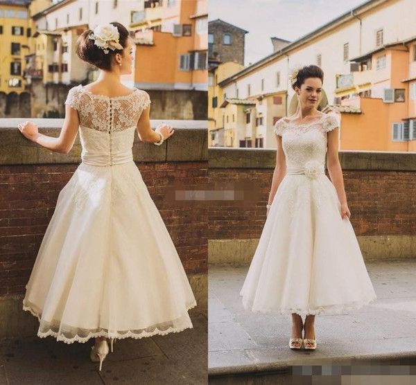 top popular 2019 50s Style Retro Vintage Wedding Dresses Illusion Neck Cap Sleeves Lace Beads Buttons Short Ankle Length Sash Organza Cheap Bridal Dress 2021