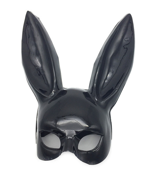 Black White Women Girl Sexy Rabbit Ears Mask Cute Bunny Long Ears Bondage Mask Halloween Masquerade Party Cosplay Costume Props