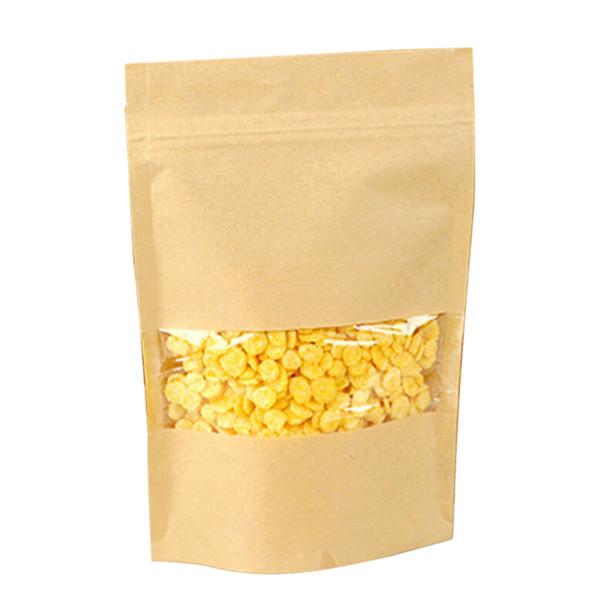 50PCS Boutique Paquet Party Sac en papier pratique refermable Effacer la fenêtre Support de stockage Zip Recyclable verrouillage poche