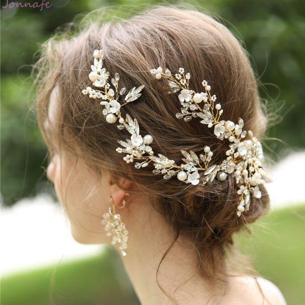 Jonnafe Handmade Delicate Women Headpiece Gold Crystal Bridal Hair Vine Crown Handmade Wedding Hair Clip Accessories MX190817