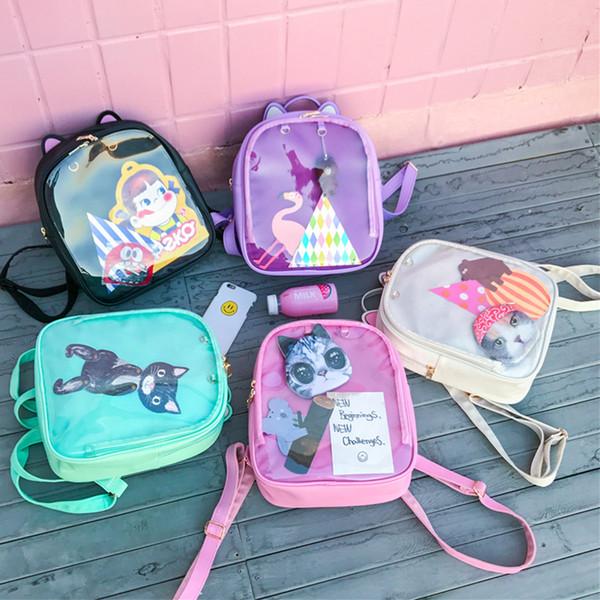 Lovely Cat Ear Itbag Zaini Donna Candy Color Clear School Bag Bambini Borse a tracolla Bookbags Ragazze adolescenti Borsa da viaggio Pack