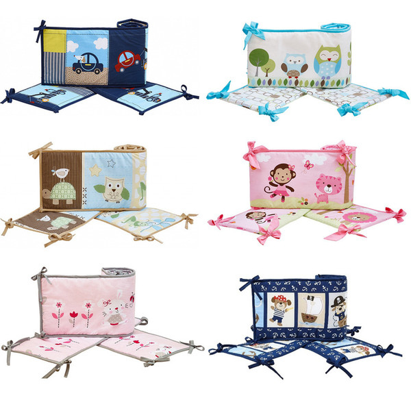 4Pcs Crib Bumpers cotton Cartoon animais flower Cot Bumpers for newborn Baby protect bumpers set for infant boy girl