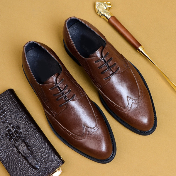 2019 Classic Design Genuine Leather Formal Wingtip Brogues Shoes Round Toe Derby Men's Office Business Oxfords For Male AS156