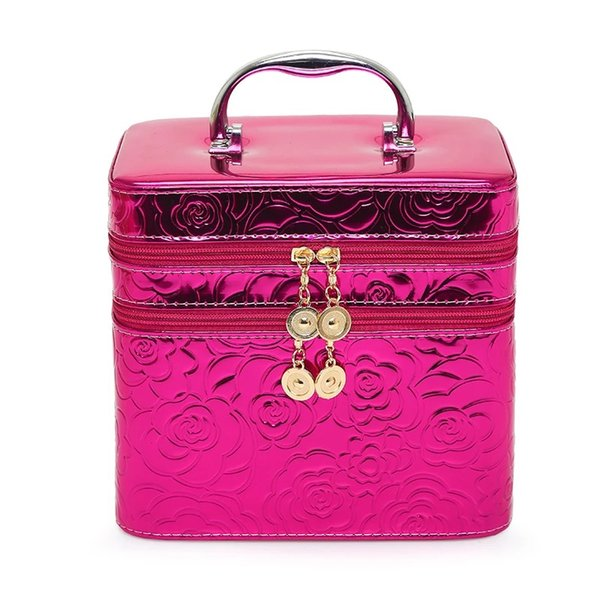 Double-deck free shipping floral pu bag/wholesale free shipping travel bag/hard case travel bag/beauty cosmetic bag