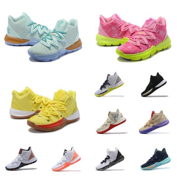 Scarpe da basket da donna kyrie 5 sponge bob squidward verde blu rosa giallo uomo mens giovani bambini kyries sneakers Irving tennis con scatola 5 12
