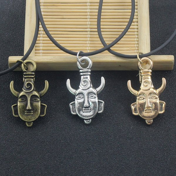 Fashion Personality Dean Double-sided Amulet Pendant Necklace Retro Unisex Buddha Head Amulet Leather Chain Necklace Jewelry