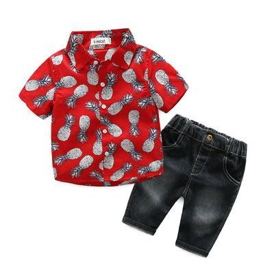 2019 bébé tid garçons boutique designer vêtements ensemble enfants nouveau-né bébé gentilhomme robe ensemble Nouveau vêtements pour bébés garçons chemise jean 2pcs bébé garçon ensemble