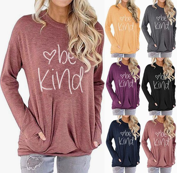 top popular Be Kind Letter Printed Hoodie 6 Colors Women Pocket Printed Round Neck Batwing Sleeve Shirts LJJO7217-1 2020