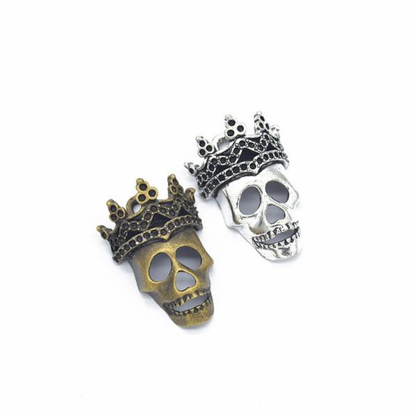 50Pcs Alloy DIY Punk Bronze Halloween Hand Skeleton Shaped Charms Pendants