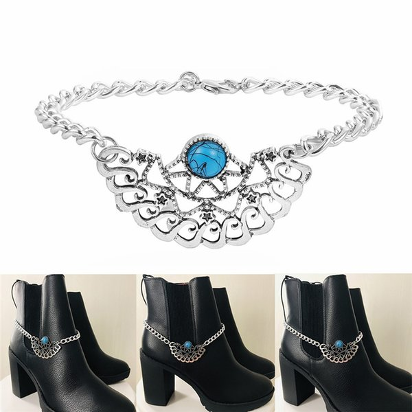 20pcs Hollow Foot Anklet National Foot Chain Female Retro Turquoise Stone Plate Semi-circular Shaped Shoe Chain