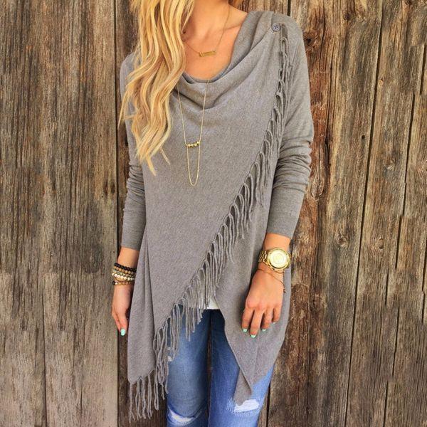 Autumn Spring Cardigans Tops Women Casual Loose Long Sleeve Irregular Hem Tassel Cardigan Cape Poncho Black Gray