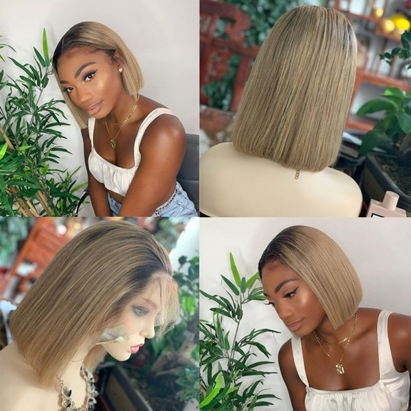 13x6 Short 4 27 Honey Blonde Цветные парики фронта шнурка человеческих волос Ombre Боб парик Remy Transparent Hd Lace Фронтальная парик Pre щипковые
