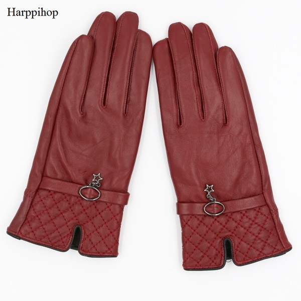 8ad281263 Harppihop Fall and Winter Genuine Leather Gloves for Women 2017 New Fashion  Brand Black Warm Driving Glove Mittens GSL016