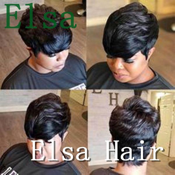 Parrucche corte dei capelli umani Parrucche ombre tagliate per le donne Brasiliani Capelli remy brasiliani Capelli corti Nessuna parrucca di pizzo
