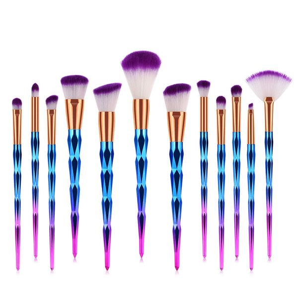 Makeup Brush Rainbow Brushes Set 12pcs Rhinestone Tools Pro Powder Foundation Eye Lip Face Colrful Brush Kit