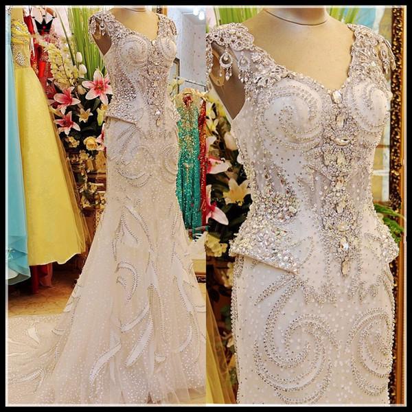 Custom Made 100% Real Photo Robes De Mariée De Luxe Sirène Col V Pierres De Cristal Perlée Sans Manches Longue Formelle Sexy Robe De Mariée