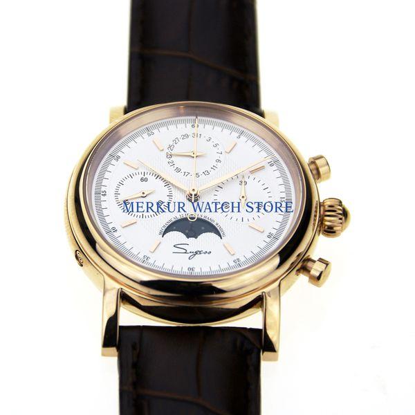 Sugess para hombre reloj mecánico del cronógrafo Piloto 1963 del reloj del vestido vestido de gaviota Movimiento St1908 chapado en oro esfera blanca de lujo