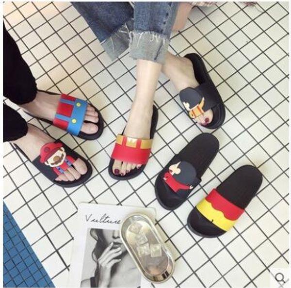 2019The newBig Size Mulheres e Homens dos desenhos animados romântico Casal Chinelos Flip Flops Slide4-10Código número Sandálias Sapatos de verão Frete Grátis