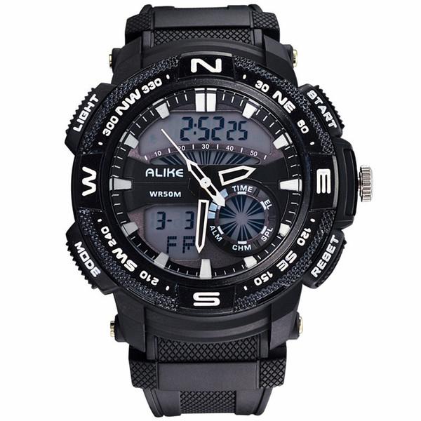 2018 ALIKE Men S Shock Outdoor Sports Watches Quartz Hour Digital Watch Military 50m Waterproof Wrist Watch LED Clock kol saati