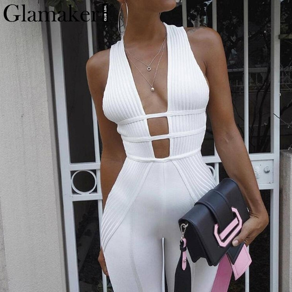 Glamaker Knitted V Neck Sexy Jumpsuit Women Bodycon Jumpsuits & Rompers Female Elegant Jumpsuit Long Playsuit Overalls Jump Suit Y19071701
