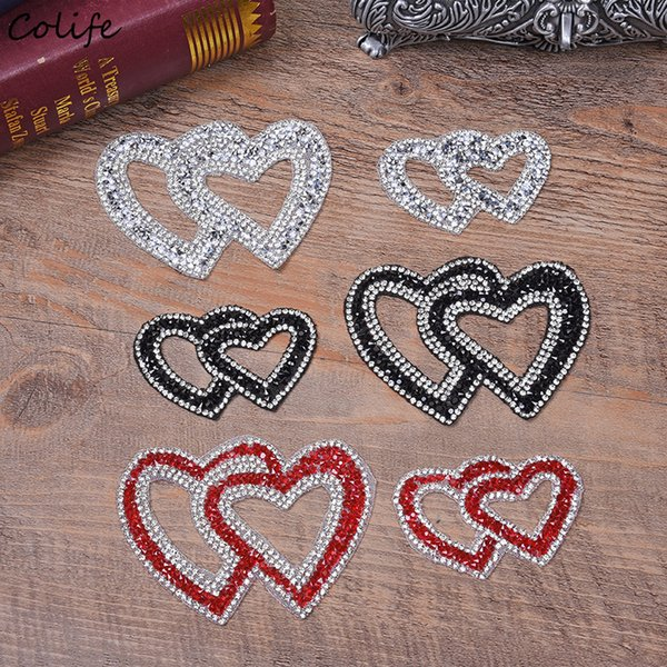 Double Heart Exquisite Rhinestone Stickers Heat Transfers For Clothes DIY Embroidery Applique For T-shirt Clothing Decor