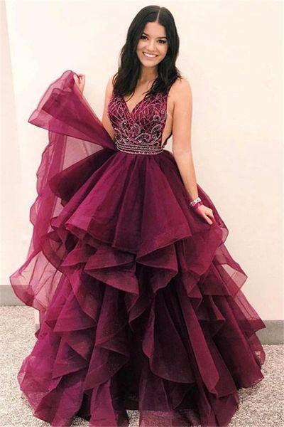 Romantic Layers V-Neck Sleeveless Burgundy Gorgeous Prom Dresses elegant crystal Evening Dresses A Line robes de soirée Prom Formal Dresses