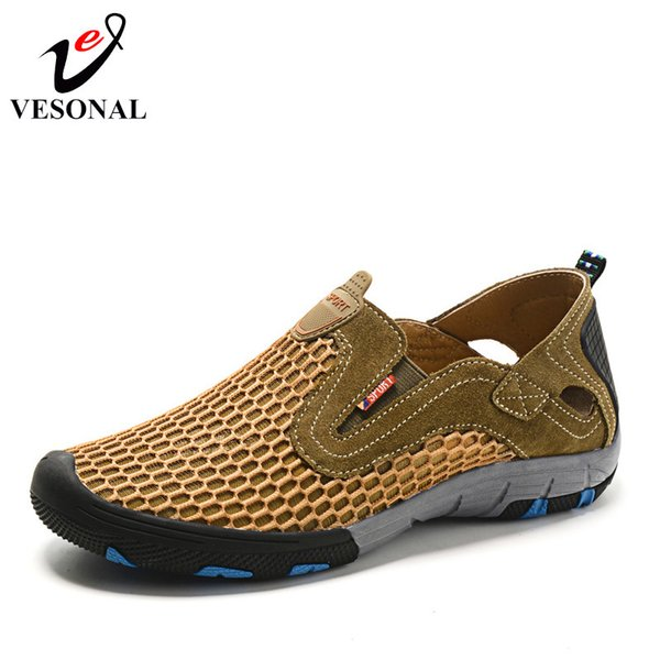 Vesonal Summer Style Male Mesh Shoes For Men Adult Casual Breathable Light Quality Driving Walking Sneakers Slip On Footwear MX190713