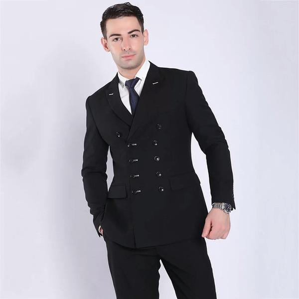 Formal Business Men Suits Groom Wedding Tuxedo Man Prom Suit Double Breasted Groomsmen Blazers Man Jacket 2 Pieces (Coat+Pants)Costume Homme