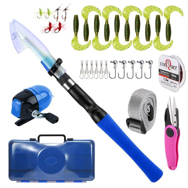 1.2m fishing rod fishing reel pole lures hooks line accessories kids rod reel combo spincast carp thumbnail