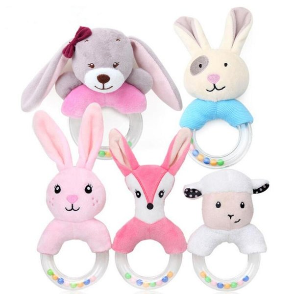 Cartoon Hand Ring Baby Handbell Cute Creative Cute Rabbit Plush Toy For Infant Early Educational Toys 5Styles LJJS96