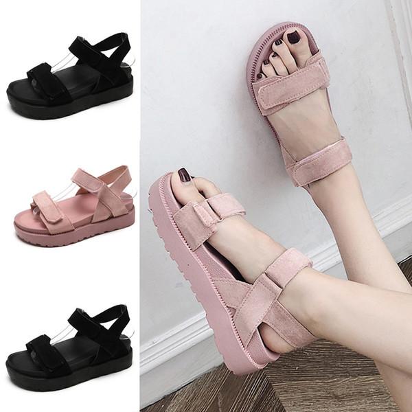 Women Leather Buckle Sandals Spring Summer Ladies Walking Shoes Fashion Casual High Platform Sandals Med Heel Wedges Walk Shoes