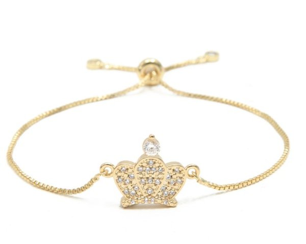gold silver Chain bracelet micro pdave cz rope Cubic Zirconia adjusted Macrame crown bracelet charm women gb43 Bangles