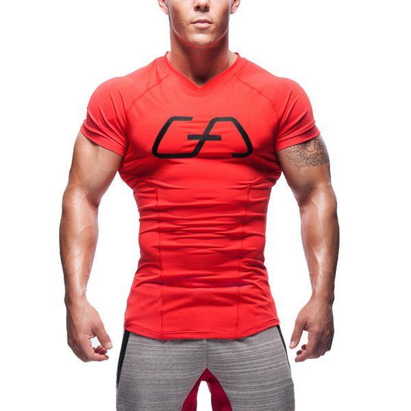 2019 Nova compressão apertada T-shirt para esporte dos homens elástico de manga curta V-collar, body-shaping, respirável corrida, ginásio T-shirt