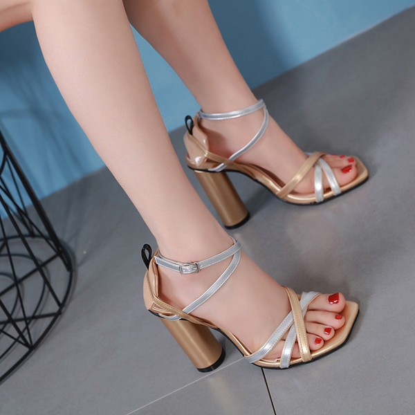 2019 Fashion slim cross strappy thick high heels women shoes designer sandals Size 34 To 40