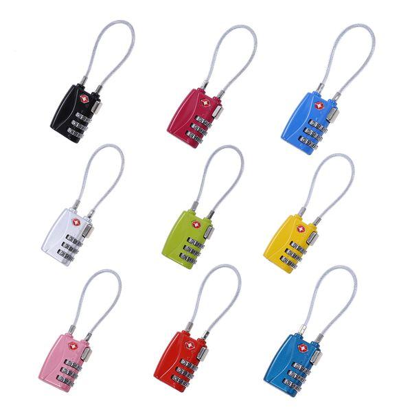 top popular 3 Digit Combination Padlock TSA Lock Luggage Suitcase Travel Bag Code Lock Black red yellow blue Alloy Combination Lock 6 colors 2021