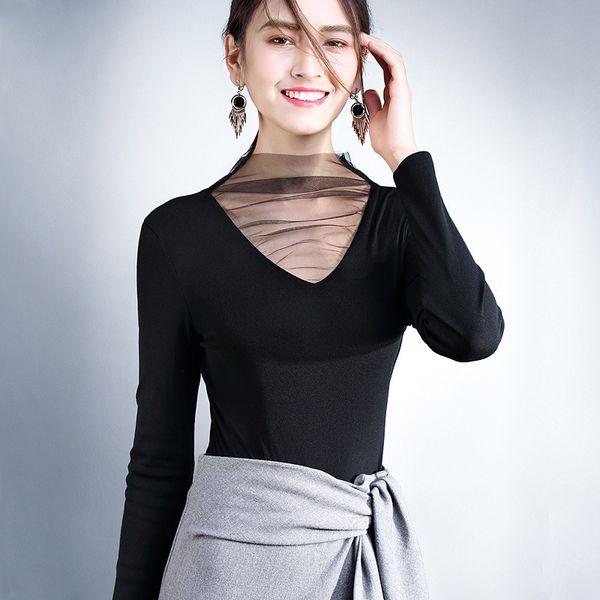 New Long Sleeve Gauze Split Joint Jacket Small Unlined Upper Garment Sexy V Lead Black Rendering Unlined Upper Garment Woman