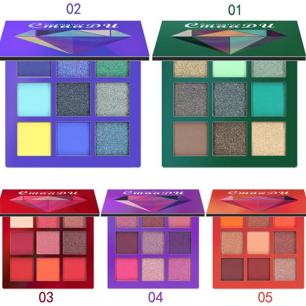 CmaaDu New Arrival Beauty Glitter Diamond Eyeshadow 9 Color Palette Make up Palette Shimmer Pigmented Eye Shadow
