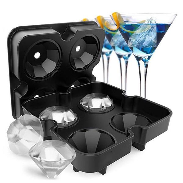 Parti Bar İçin Hoomall 4 Hücre Elmas Buz Topu Kalıp Silikon Ice Cube Tepsi Whisky Topu Maker Dondurma Kalıplar Formu Çikolata Kalıp