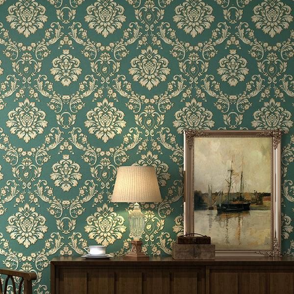 Papier peint européen épais 3D non tissé bleu vert hôtel salon chambre TV fond d'écran classiques peintures murales intemporelles