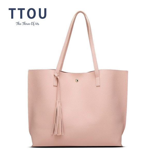 TTOU Damenmode Pu Umhängetasche Weiche Große Top Griff Taschen Feste Quaste Einkaufstasche Weibliche Einfache Stil Handtaschen